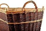Holzkorb aus ungeschälter Vollweide  Jutefutter 70x40x30 - 6