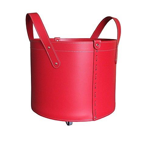 Tonda Leder Holzkorb Rot Mit 4 Gummierten R Der Holzkorb