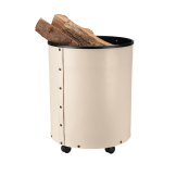Schössmetall Holzkorb RUMBA Leder creme