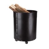 Schössmetall Holzkorb RUMBA Leder schwarz