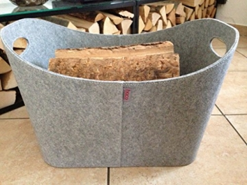 feuerholzkorb tirol aus filz hellgrau mit griff holzkorb. Black Bedroom Furniture Sets. Home Design Ideas